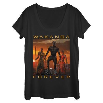 Women's Marvel Black Panther 2018 Wakanda Forever Scoop Neck