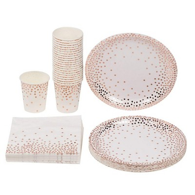 Disposable Dinnerware Set for 24  - Rose Gold Foil Dot Cutlery Party Supplies