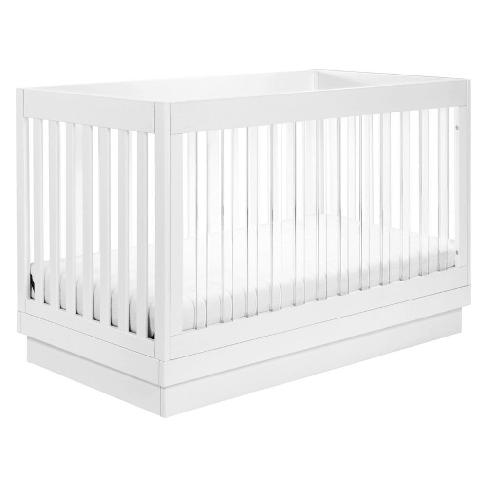 Image of Babyletto Harlow 3-in-1 Convertible Crib with Toddler Rail - White/Acrylic