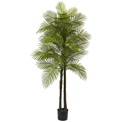 Artificial 7ft Double Robellini Palm Tree UV Resistant Indoor/Outdoor - Nearly Natural