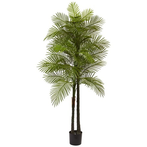 Artificial 7ft Double Robellini Palm Tree UV Resistant Indoor/Outdoor - Nearly Natural - image 1 of 1