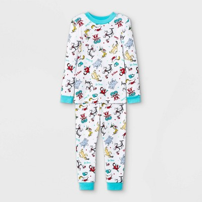 Toddler 2pc Dr.Seuss 100% Cotton Long Sleeve Snug Fit Pajama Set - White