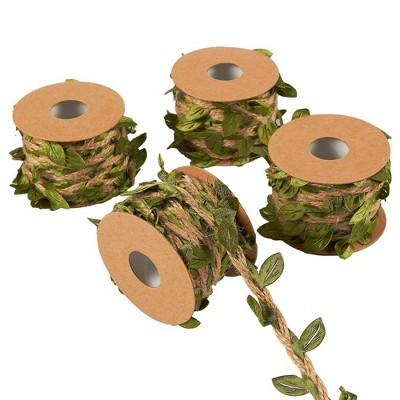 Juvale 4 Rolls Jute Burlap Twine Vine with Artificial Leaves Garland for DIY Arts and Crafts and Décor