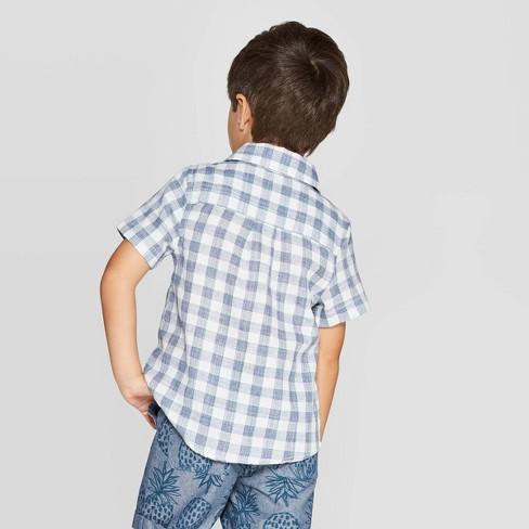 eeaaf99d Toddler Boys' Dobby Plaid Short Sleeve Woven Button-Down Shirt - Cat & Jack™  Blue/White