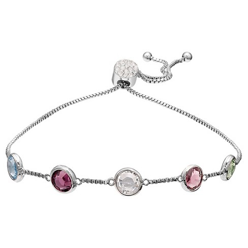 Women's Sterling Silver Plate Adj. Bracelet With Swarovski Crystal Stations - image 1 of 1