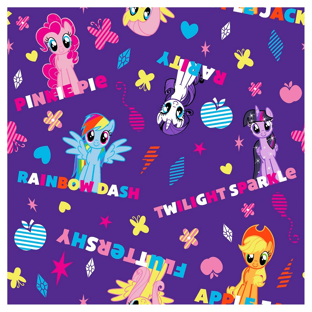 Hasbro My Little Pony Ponies and Names Fabric, Purple