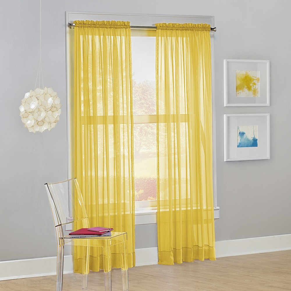 Calypso Sheer Voile Rod Pocket Curtain Panel Lemon (Yellow) 59