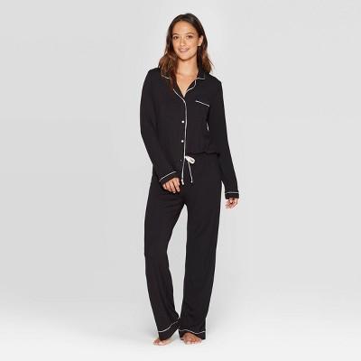 Women's Beautifully Soft Long Sleeve Notch Collar Pants Pajama Set - Stars Above™ Black M