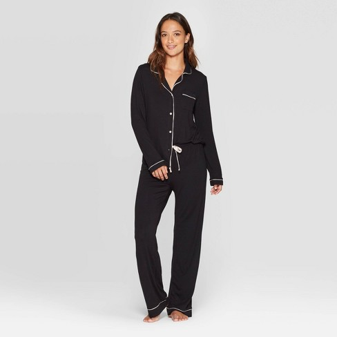 Women's Beautifully Soft Notch Collar Pant Pajama Set - Stars Above™ Black - image 1 of 2