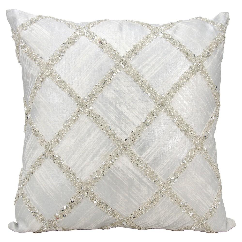"Image of ""Silver Beaded Diamonds Throw Pillow (20""""x20"""") - Nourison"""