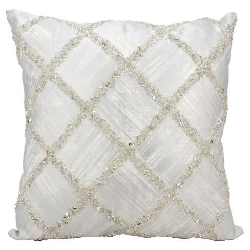Silver Beaded Diamonds Throw Pillow 20 X20 Nourison