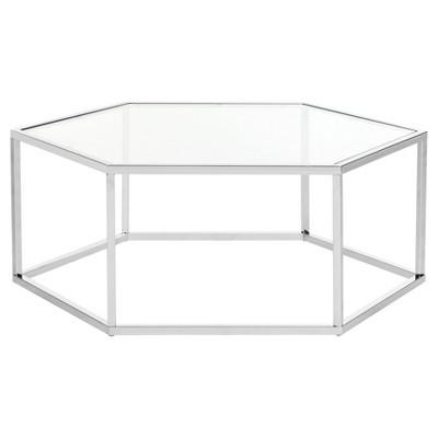 Ordinaire Eliana Glass Coffee Table   Chrome   Safavieh