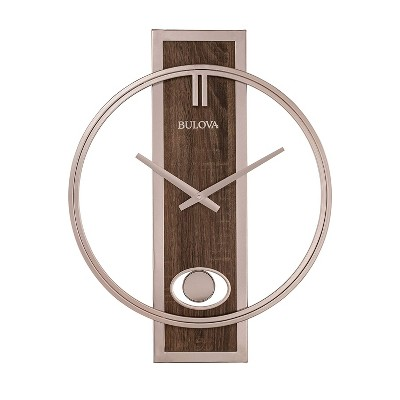 Bulova C4117 Phoenix Minimalist Metal Slow Swing Pendulum Wall Clock with Walnut Finish Center Panel and Metal Case and Hands, Champagne