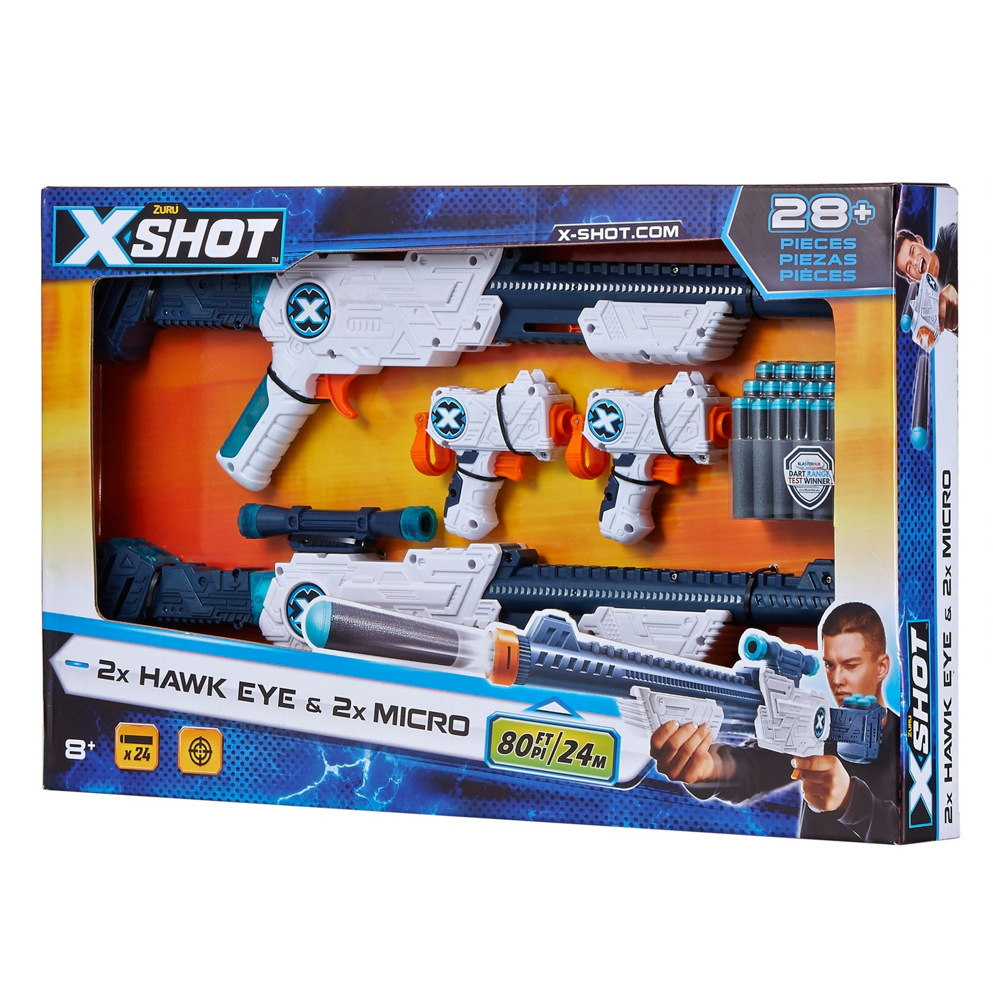 Zuru X-Shot 2x Hawk Eye with Scope & 2x Micro Blasters and 24 Darts