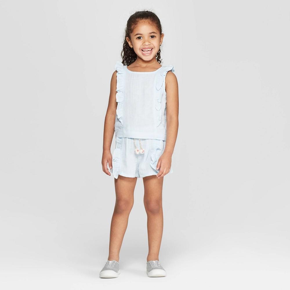 Mila & Emma Toddler Girls' 2pc Sleeveless T-Shirt and Shorts Set - Blue 3T