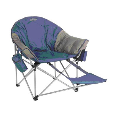 Kamp-Rite KAMPCC431 Kozy Klub Portable Outdoor Patio Lounge Lawn Moon Camping Chair with Detachable Footrest and Side Compartments, Navy & Tan