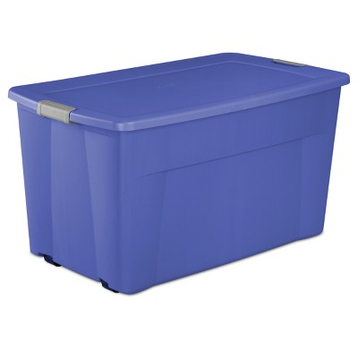 Wheeled Latch Tote Blue with Cement Gray Latches 45gal - Room Essentials™