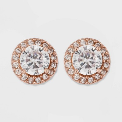 Rose Gold Over Sterling Silver Halo Cubic Zirconia Stud Fine Jewelry Earrings - A New Day™ Rose Gold/Clear