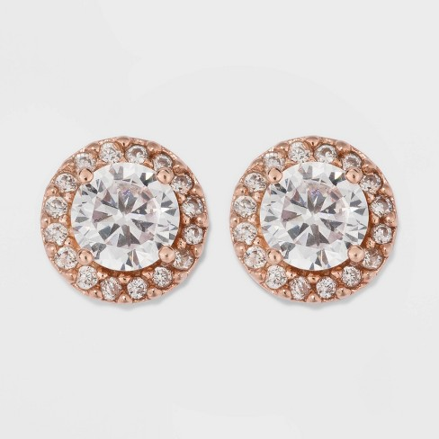 Rose Gold Over Sterling Silver Halo Cubic Zirconia Stud Fine Jewelry Earrings - A New Day™ Rose Gold/Clear - image 1 of 3