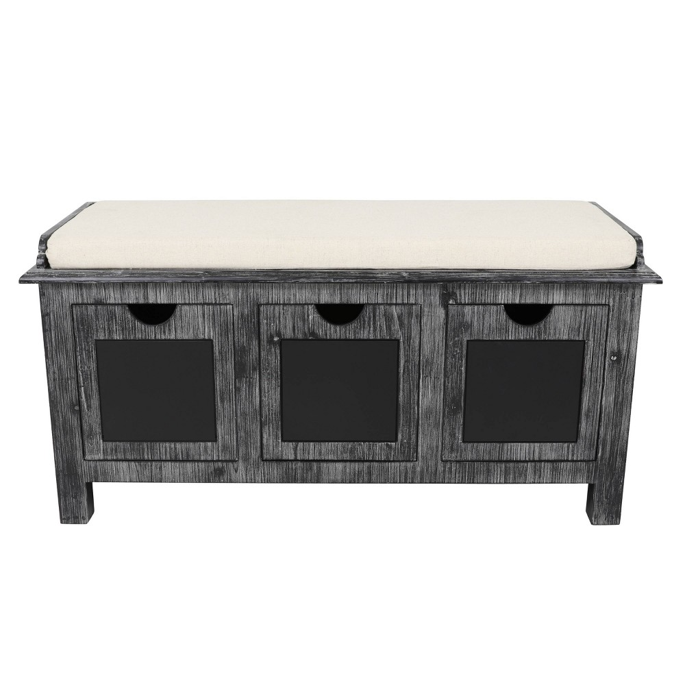Reviews Rowan 3 Drawer Weathered Chalkboard Bench Gray - Décor Therapy