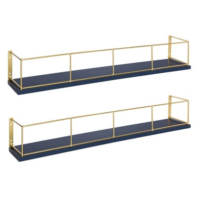 "24"" x 4"" 2pk Benbrook Wood and Metal Floating Wall Shelf Set Blue/Gold - Kate & Laurel All Things Decor"