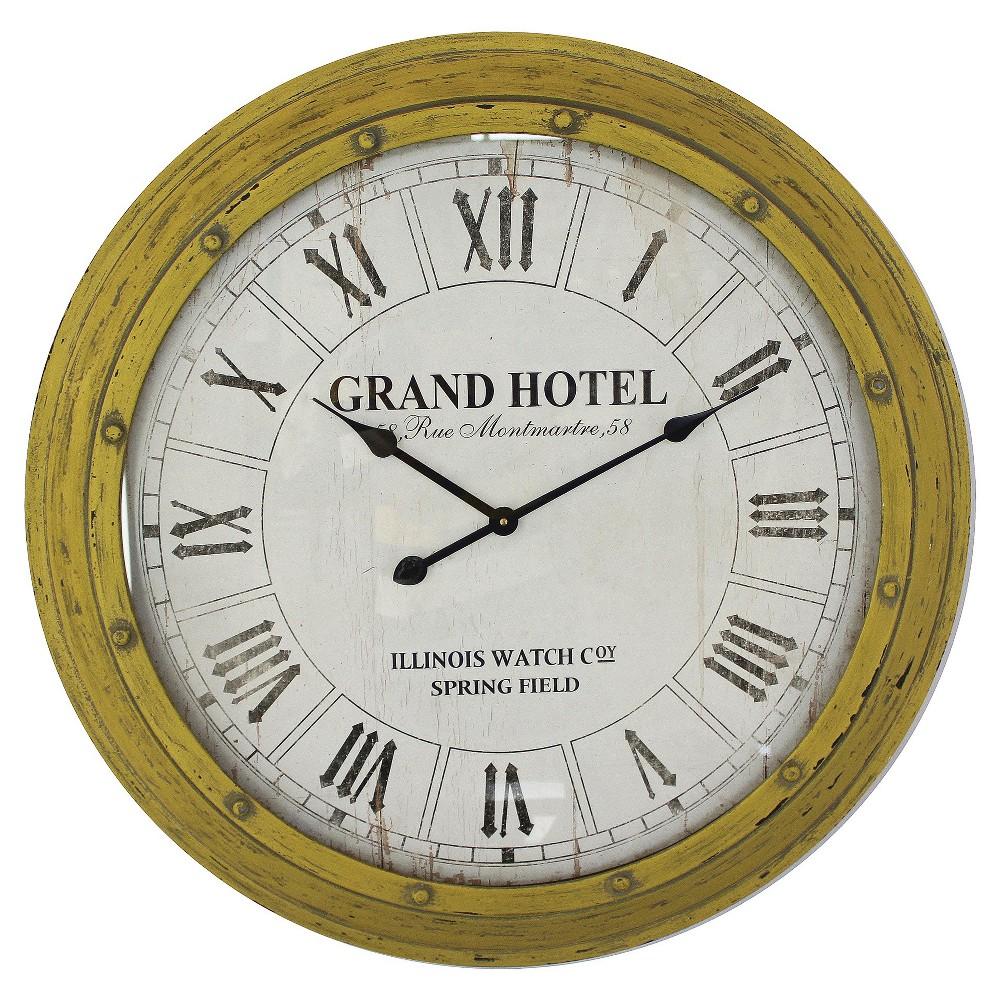 Yosemite 30.75 Circular Wall Clock Yellow Frame, Multi-Colored
