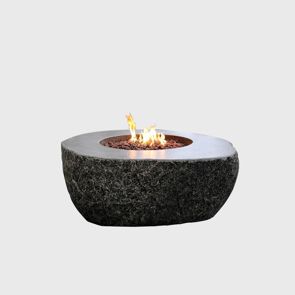 Image of Fiery Rock Glass Concrete Propane Fire Table - Graphite - Elementi