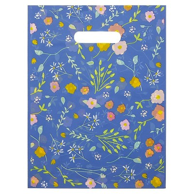 """Okuna Outpost 100-Pack Floral Party Favors Goodie Gift Bags, Plastic Merchandise Bags with Handles, Blue, 9"""" x 12"""""""