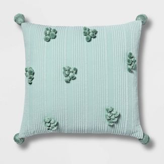 Square Cotton Ribbed Pillow with Tassels Mint - Opalhouse™
