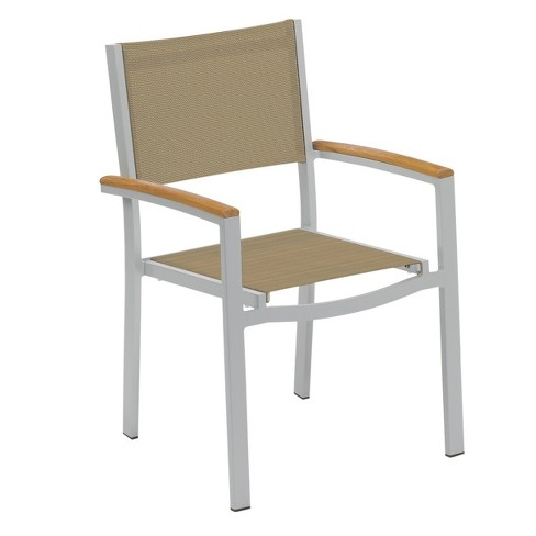 Travira Set of 2 Patio Dining Chairs - Cocoa Sling - Powder Coated Aluminum Frame - Tekwood Natural Armcaps - Oxford Garden - image 1 of 1