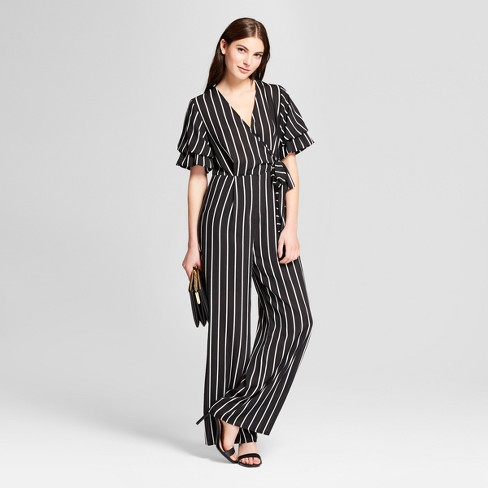 194ce789598 Women s Striped Ruffle Sleeve Wrap Tie Jumpsuit - clair Black White ...