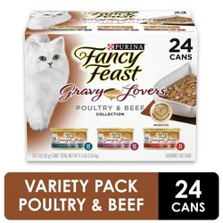 Purina Fancy Feast Gravy Lovers (Poultry & Beef Feast Variety) - Wet Cat Food - 3oz cans/24pk