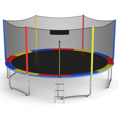 Costway 14 Ft Multicolored Trampoline Recreational Exercise w/ Safety Net Ladder