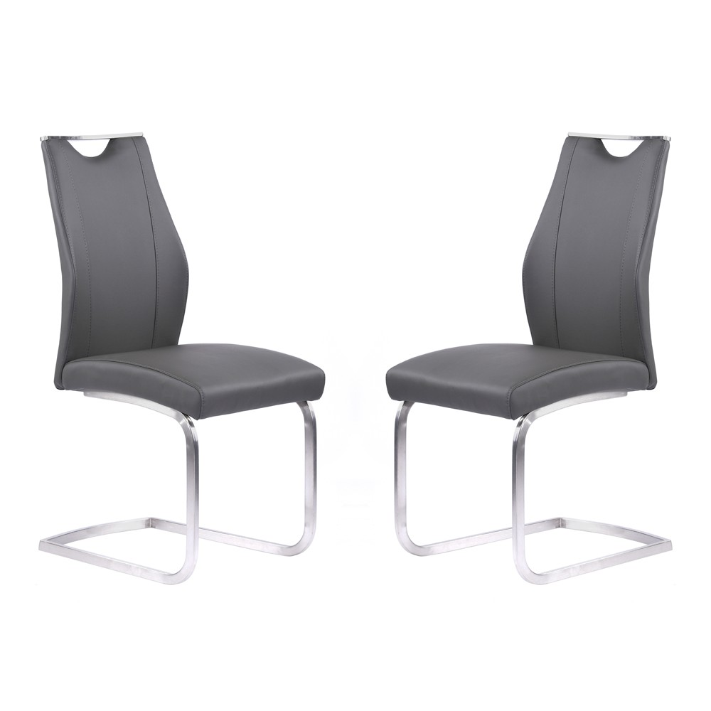 Bravo Contemporary Dining Chair Set of 2 in Gray Faux Leather and Brushed Stainless Steel (Silver) Finish - Armen Living