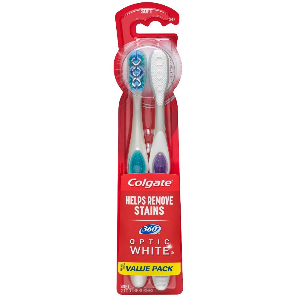 Image of Colgate 360 Optic White Whitening Toothbrush Soft - 2ct