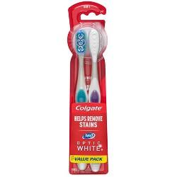 Colgate 360 Optic White Whitening Toothbrush Soft - 2ct