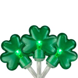 Northlight 20-Count Green LED Mini St Patrick's Day Shamrock Lights - 7ft Clear Wire