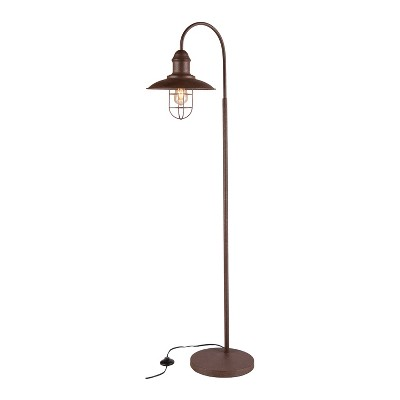 """63"""" Conor Caged Bell Floor Lamp Rustic Brown (Includes CFL Light Bulb) - Aiden Lane"""