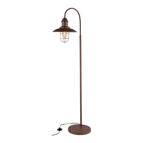 Conor Caged Bell Floor Lamp Rustic Brown (Includes Energy Efficient Light Bulb) - Aiden Lane - image 1 of 6