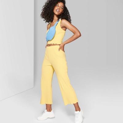 Women's High Waist Rib Knit Pants   Wild Fable Yellow by Waist Rib