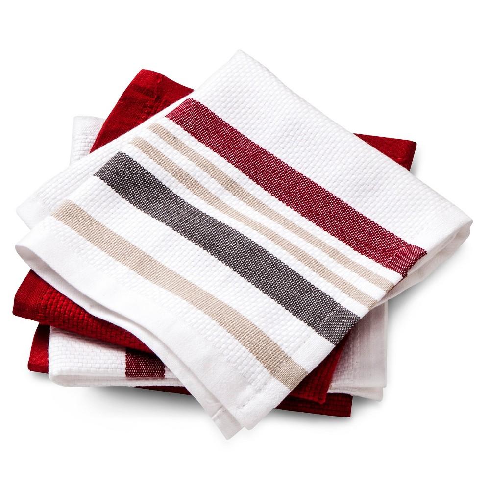 Dishcloths 4-Pack Red Basket Weave - Threshold