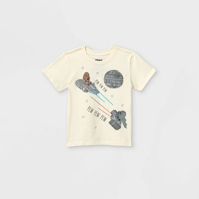 Toddler Boys' Star Wars Short Sleeve Pocket T-Shirt - Cream