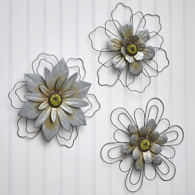 Lakeside Rustic Galvanized Metal Hanging Wall Flowers - Floral Indoor Accents - Set of 3