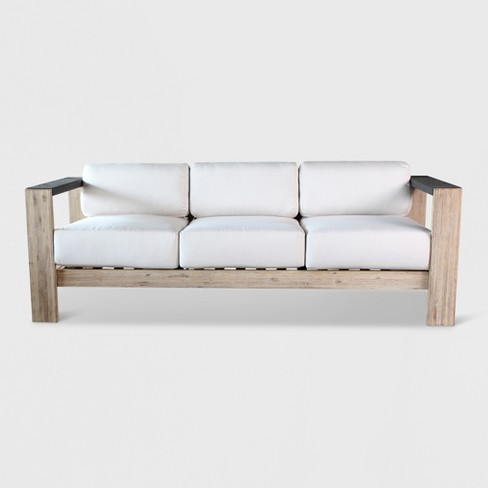 Montpelier Wood Patio Sofa with Sunbrella Fabric White - Smith & Hawken™