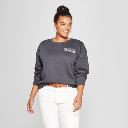 2a2f8fd0388 Women s Plus Size Paris France Cropped Graphic Sweatshirt - Mighty Fine ( Juniors ) Black