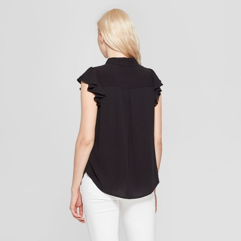 1cb99af7b9f89 Women s Ruffle Sleeve V-Neck Blouse - A New Day™ Black   Target