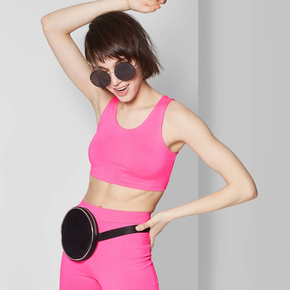 Women's Round Neck Cropped Tank Top - Wild Fable Neon Pink M