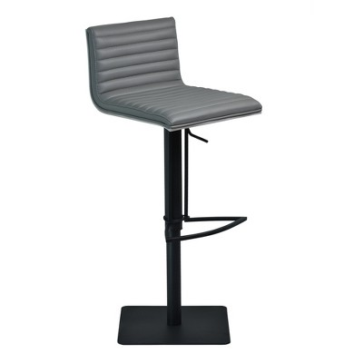Cafe Adjustable Swivel Barstool in Gray Faux Leather with Black Metal Finish and Gray Walnut Veneer Back - Armen Living