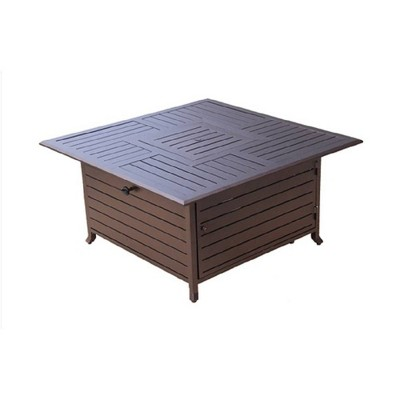 Square Slatted Aluminum Fire Pit - Espresso Brown - AZ Patio Heaters
