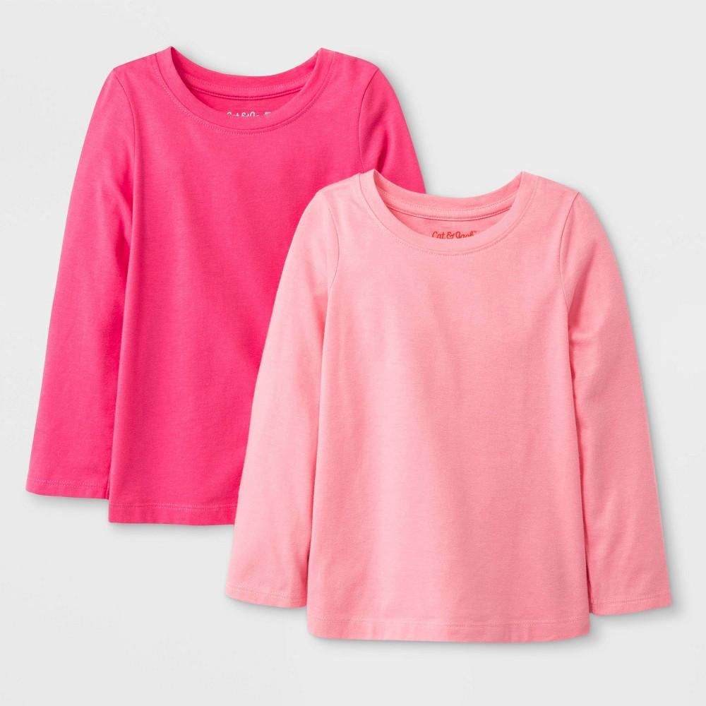 Toddler Girls 39 2pk Solid Long Sleeve T Shirt Cat 38 Jack 8482 Pink Light Pink 3t